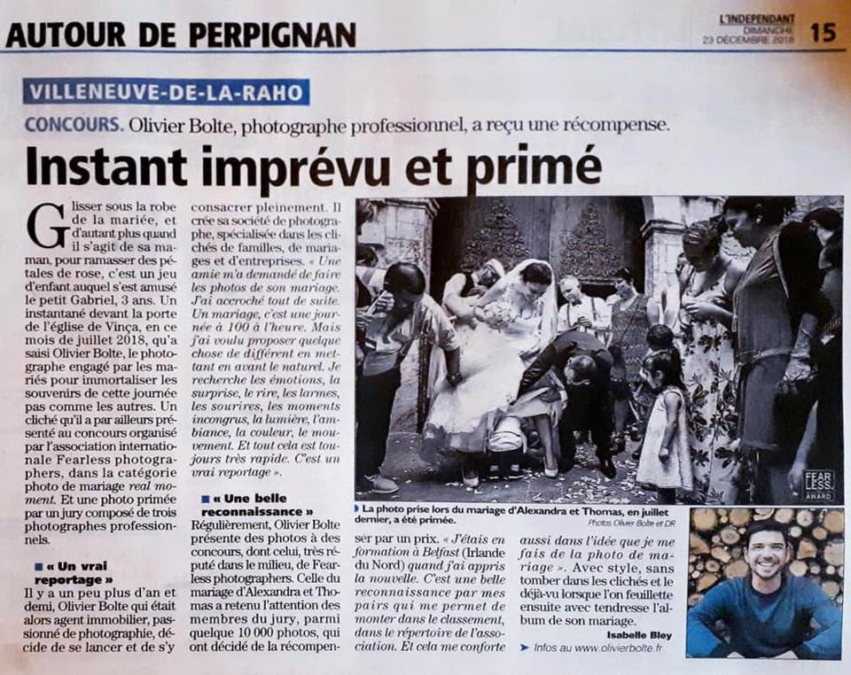 Parution dans le journal local d'une photographie primée aux concours internationaux